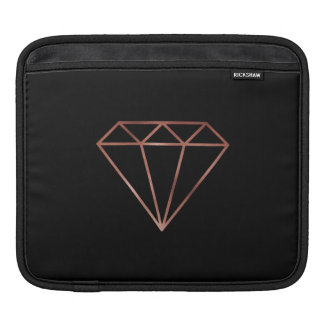 elegant modern clear faux rose gold diamond black iPad sleeve