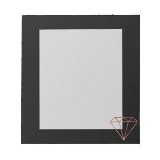 elegant modern clear faux rose gold diamond black notepad