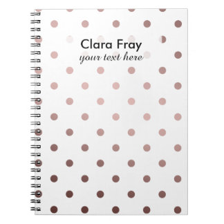 elegant modern clear faux rose gold polka dots notebook