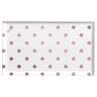 elegant modern clear faux rose gold polka dots table card holder