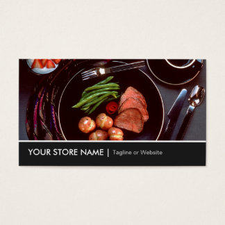 Elegant Modern Cuisine Beef Steak Tableware Theme Business Card
