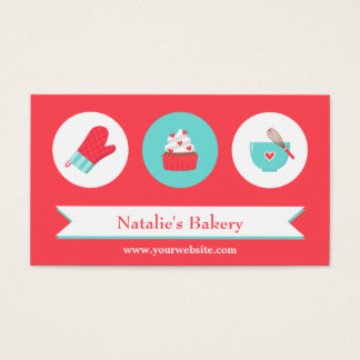 Elegant Modern Cupcake Bakery Cafe Red Turquoise Business Card
