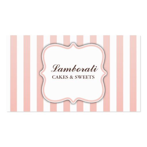 Elegant Modern Cute Pink and White Stripes Business Card Template