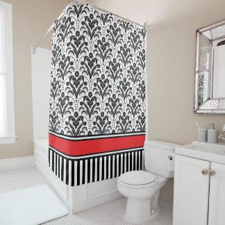 Elegant Modern Deco Damask Black and White Shower Curtain