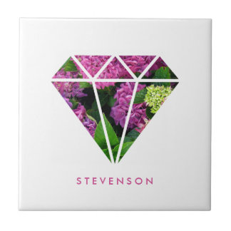 elegant modern diamond lilac flower colorful ceramic tile