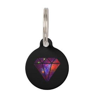elegant modern diamond nebula colorful pink black pet ID tag