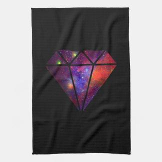 elegant modern diamond nebula colorful pink black tea towel