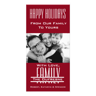 Elegant & Modern Family Christmas Red Card