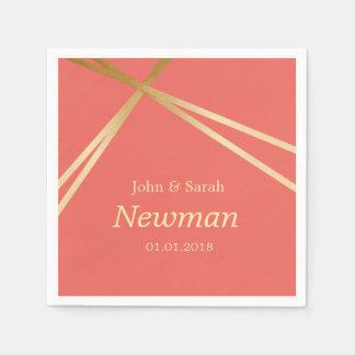 elegant modern faux gold foil geometric wedding disposable napkins