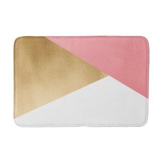 elegant modern faux gold foil pink geometric bath mat