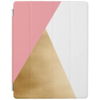 elegant modern faux gold foil pink geometric iPad cover