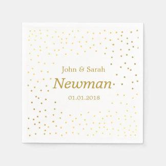 elegant modern faux gold foil polka dots wedding disposable napkin
