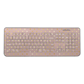 elegant modern faux gold polka dots pattern wireless keyboard