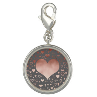 elegant modern faux rose gold hearts pattern