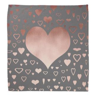 elegant modern faux rose gold hearts pattern bandana