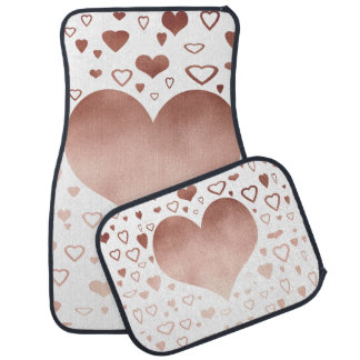 elegant modern faux rose gold hearts pattern car mat