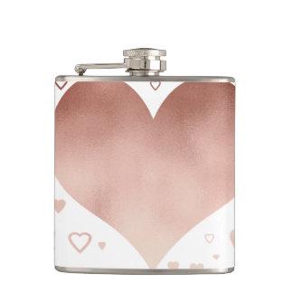 elegant modern faux rose gold hearts pattern hip flask