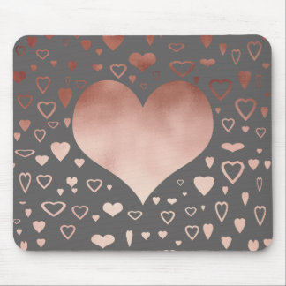 elegant modern faux rose gold hearts pattern mouse pad