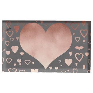 elegant modern faux rose gold hearts pattern table card holder