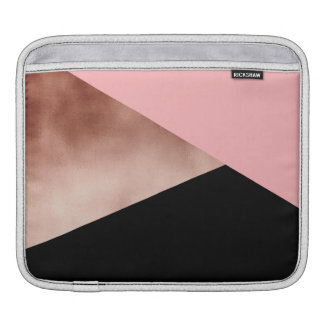 elegant modern faux rose gold pink geometric iPad sleeve