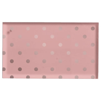 elegant modern faux rose gold polka dots pattern place card holder