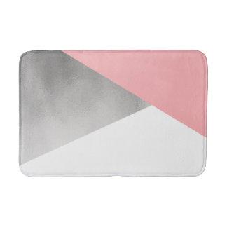 elegant modern faux silver foil pink geometric bath mat