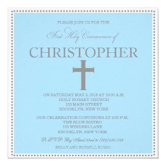 Elegant Modern First Communion Invitation for Boys