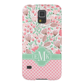 Elegant Modern Floral Pink Mint Monogrammed Case For Galaxy S5