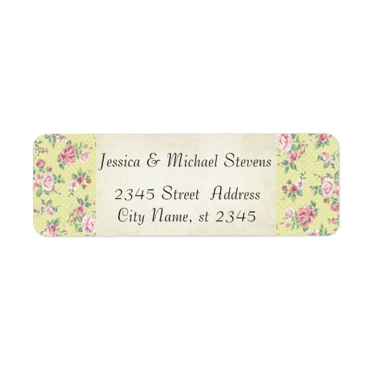 Elegant modern gentle roses romantic vintage return address label