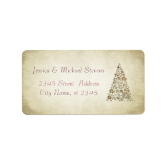 Elegant modern gentle vintage Christmas tree Address Label