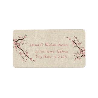 Elegant modern gentle wedding cherry tree linen label