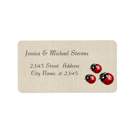 Elegant modern gentle wedding ladybugs address label