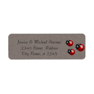 Elegant modern gentle wedding ladybugs linen return address label