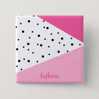 Elegant modern geometric pink leather black dots 15 cm square badge