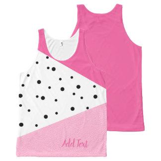 Elegant modern geometric pink leather black dots All-Over print singlet