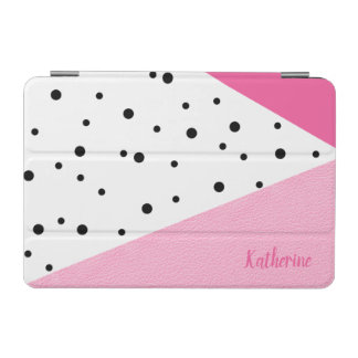Elegant modern geometric pink leather black dots iPad mini cover