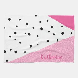 Elegant modern geometric pink leather black dots tea towel
