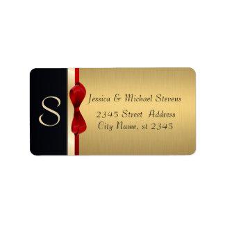 Elegant modern gold / black holiday monogram address label