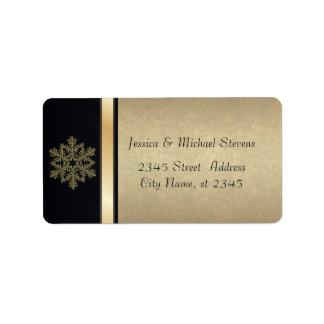 Elegant modern gold / black holiday snowflake address label
