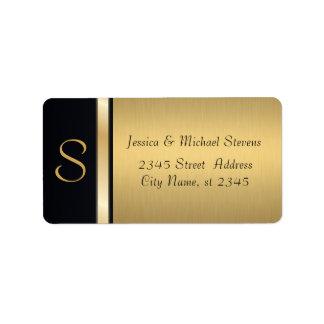 Elegant modern gold / black monogram wedding address label