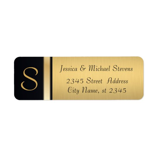 Elegant modern gold / black monogram wedding return address label