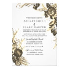 Elegant Modern Gold Floral Fern Wedding Invite