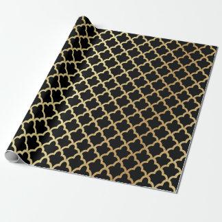 Elegant Modern Gold Foil Moroccan Trellis on Black
