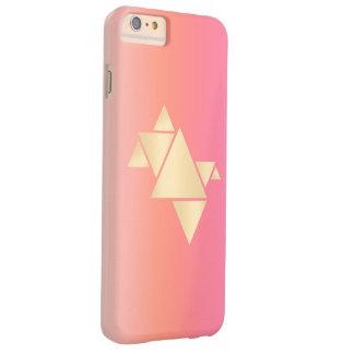 Elegant Modern Gold Geometric Pink Orange Gradient Barely There iPhone 6 Plus Case