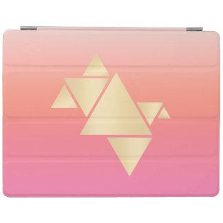 Elegant Modern Gold Geometric Pink Orange Gradient iPad Cover