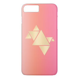 Elegant Modern Gold Geometric Pink Orange Gradient iPhone 8 Plus/7 Plus Case