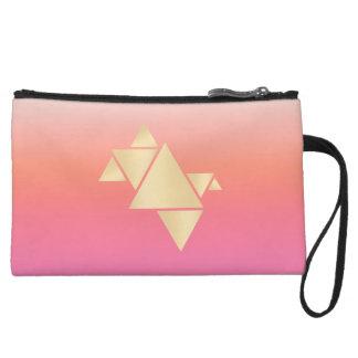 Elegant Modern Gold Geometric Pink Orange Gradient Wristlet