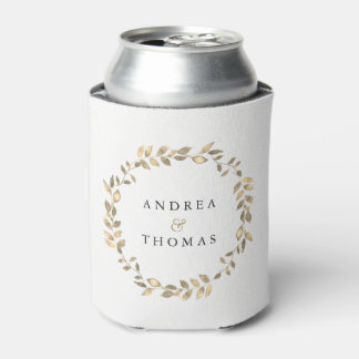 Elegant Modern Gold Leaf Wreath Engagement Party Can Cooler