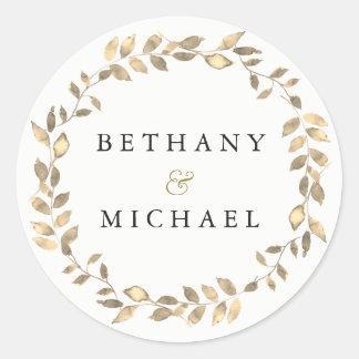 Elegant Modern Gold Leaf Wreath Wedding Name Classic Round Sticker