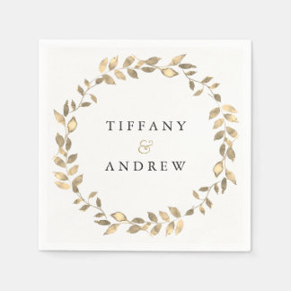 Elegant Modern Gold Leaf Wreath White Wedding Disposable Napkins